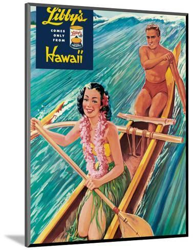 Surfing on Outrigger Canoe, Libby's Pineapple Hawaii, c.1957-Laffety-Mounted Art Print