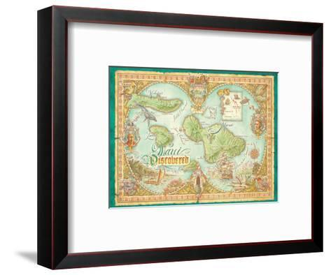 Maui Discovered Vintage Map Of Maui Hawaii Art Print By Dave