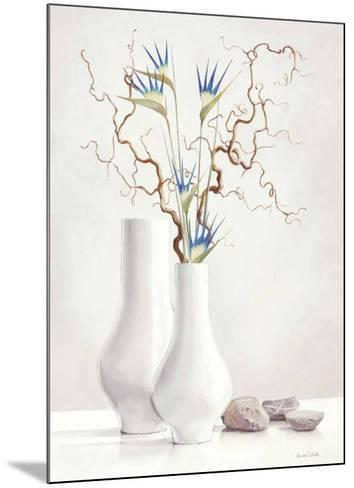 Willow Twigs with Blue Flowers-Karin Valk-Mounted Art Print