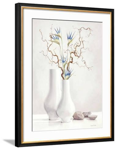 Willow Twigs with Blue Flowers-Karin Valk-Framed Art Print