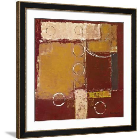 Circles on Red and Brown II-David Sedalia-Framed Art Print