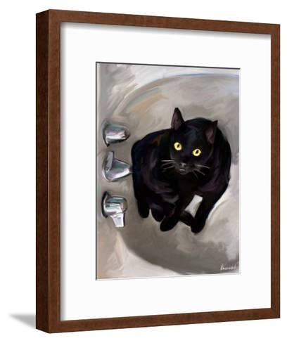 Black Cat Lookin'-Robert Mcclintock-Framed Art Print