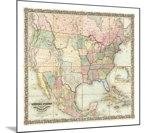 Map of The United States of America, c.1848-J^ H^ Colton-Mounted Art Print