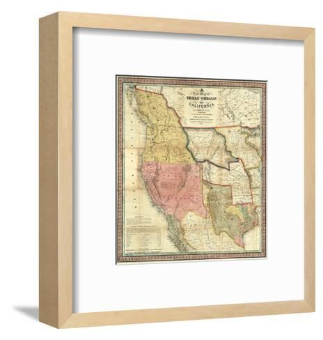 New Map of Texas, Oregon and California, c.1846-Samuel Augustus Mitchell-Framed Art Print