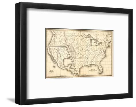 Map of the United States and Texas, Mexico and Guatimala, c.1839-Samuel Augustus Mitchell-Framed Art Print