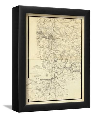 Civil War Map Showing the Operations of the Armies against Richmond and Petersburg, c.1865--Framed Art Print