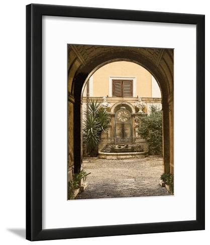 Courtyard Clock-Kenneth Gregg-Framed Art Print