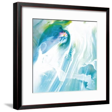 Blue and White Linear Abstract, c. 2008-Pier Mahieu-Framed Art Print