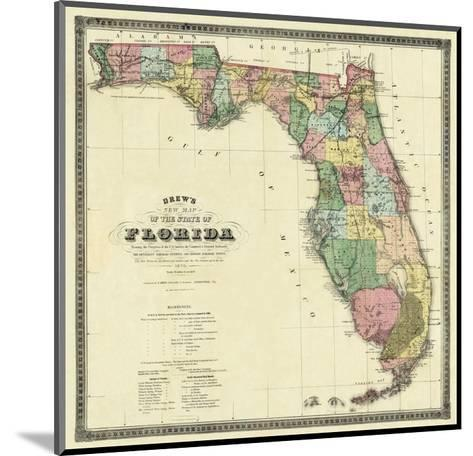 New Map of the State of Florida, c.1870-Columbus Drew-Mounted Art Print