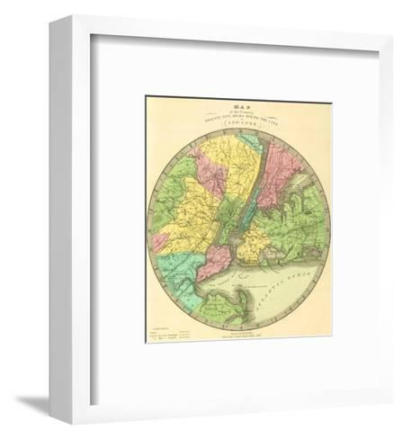 Map of the Country Twenty Five Miles Round the City of New York, c.1848-Jeremiah Greenleaf-Framed Art Print