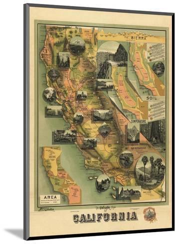 The Unique Map of California, c.1885-E^ M^ Johnstone-Mounted Art Print