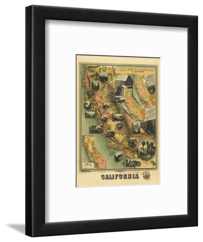 The Unique Map of California, c.1885-E^ M^ Johnstone-Framed Art Print