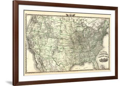 New Railroad Map of the United States and Dominion of Canada, c.1876-Warner & Beers-Framed Art Print