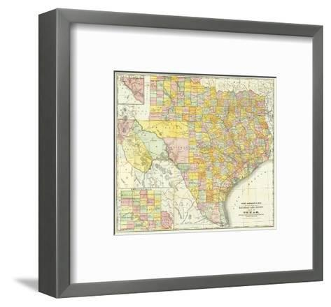 Railroad And County Map Of Texas, c.1882--Framed Art Print
