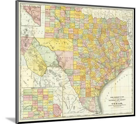 Railroad And County Map Of Texas, c.1882--Mounted Art Print