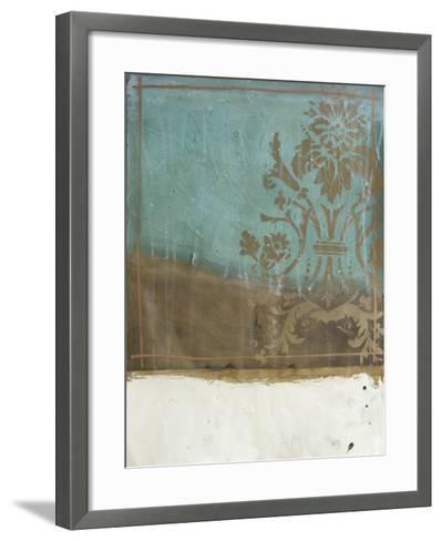 Teal and Bronze Abstract I-Jennifer Goldberger-Framed Art Print
