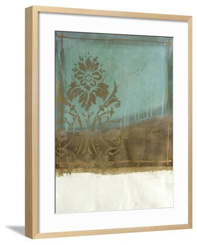 Teal and Bronze Abstract II-Jennifer Goldberger-Framed Art Print