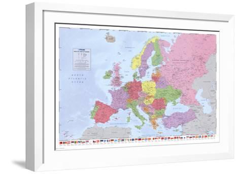 Political Map of Europe--Framed Art Print