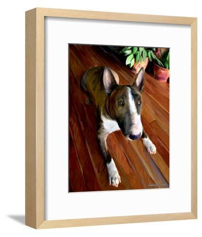 Bull Terrier Down-Robert Mcclintock-Framed Art Print