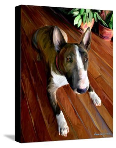 Bull Terrier Down-Robert Mcclintock-Stretched Canvas Print