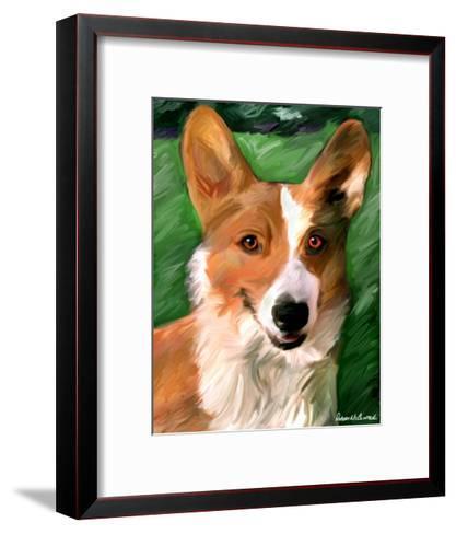Corgie on the Lawn-Robert Mcclintock-Framed Art Print