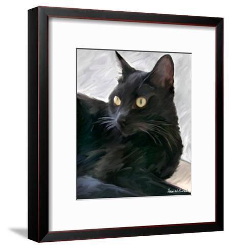 Black Cat Portrait-Robert Mcclintock-Framed Art Print