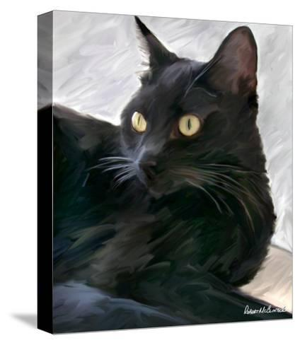 Black Cat Portrait-Robert Mcclintock-Stretched Canvas Print