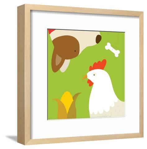 Farm Group: Hen and Dog-Yuko Lau-Framed Art Print