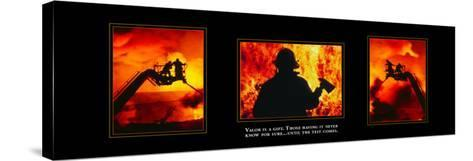 Valor: Firefighter Triptych--Stretched Canvas Print