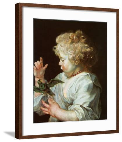 Child with a Bird, c.1616-Peter Paul Rubens-Framed Art Print