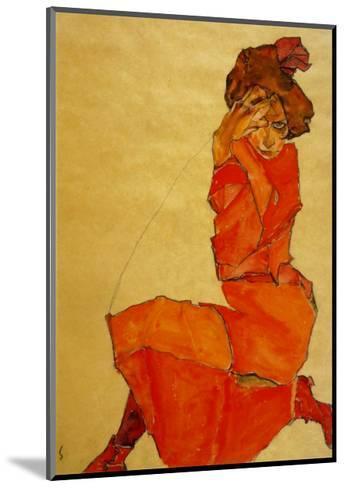 Kneeling Female in Orange Dress, c.1910-Egon Schiele-Mounted Art Print