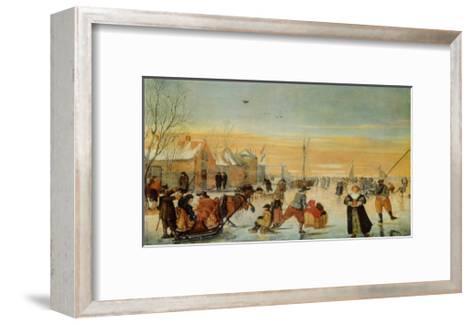 Sledding and Ice Skating-Hendrick Avercamp-Framed Art Print