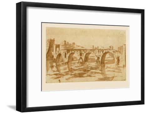 Ponte Molle at Rome-Nicolas Poussin-Framed Art Print