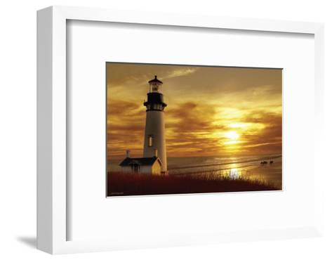 Lighthouse at Sunset-Carlos Casamayor-Framed Art Print