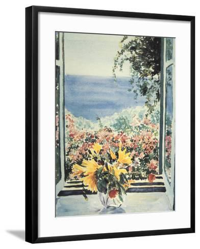 Yellow Flowers In Window-Charles Penny-Framed Art Print