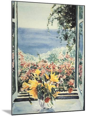Yellow Flowers In Window-Charles Penny-Mounted Art Print