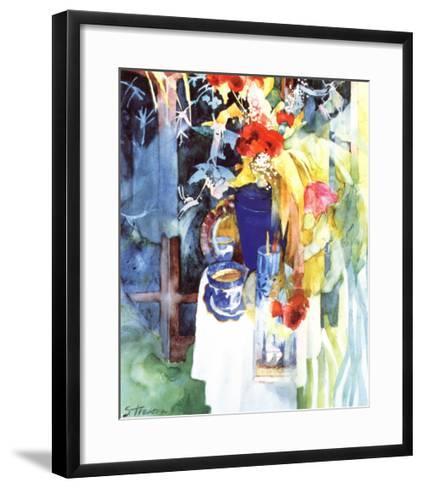 Red Silk Poppies-Shirley Trevena-Framed Art Print