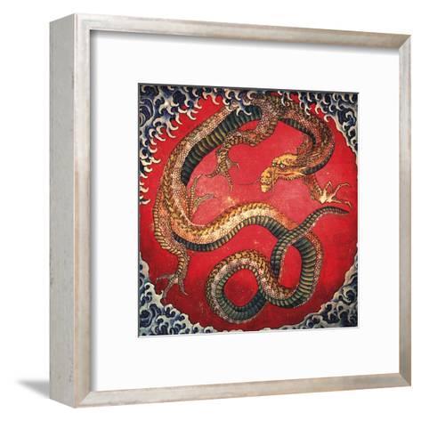 Dragon (detail)-Katsushika Hokusai-Framed Art Print