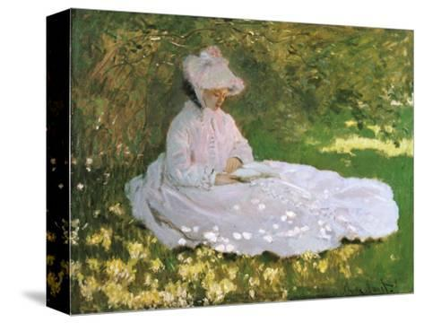 A Woman Reading-Claude Monet-Stretched Canvas Print