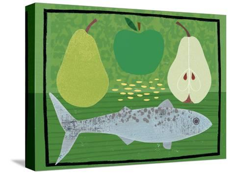 Pear, Apple and Fish-Jessie Ford-Stretched Canvas Print