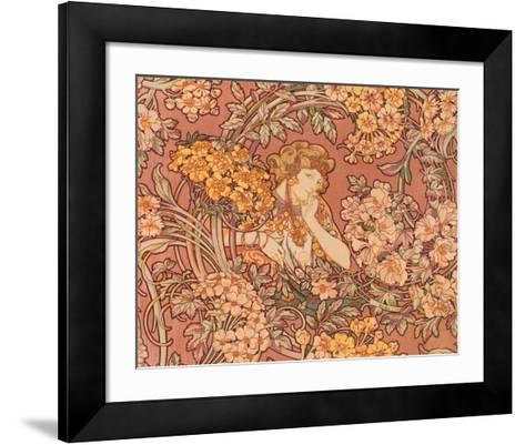Redhead Among Flowers-Alphonse Mucha-Framed Art Print