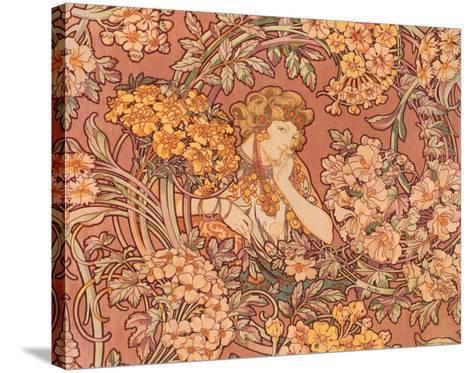 Redhead Among Flowers-Alphonse Mucha-Stretched Canvas Print