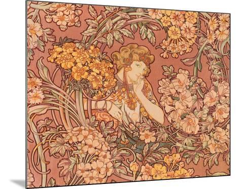 Redhead Among Flowers-Alphonse Mucha-Mounted Art Print