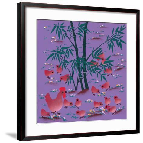 Rooster and Chicks--Framed Art Print