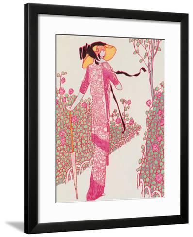 Woman In Pink Dress-Georges Barbier-Framed Art Print