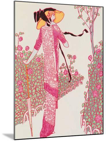 Woman In Pink Dress-Georges Barbier-Mounted Giclee Print