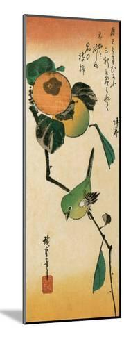 A Japanese White-Eye on a Persimmon Branch-Ando Hiroshige-Mounted Giclee Print