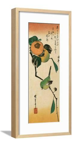 A Japanese White-Eye on a Persimmon Branch-Ando Hiroshige-Framed Art Print