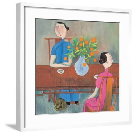 Two Women at Table--Framed Art Print