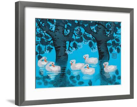 Six Swimming Swans--Framed Art Print